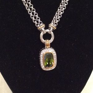 NEW, PERIDOT w/RHINESTONES NECKLACE